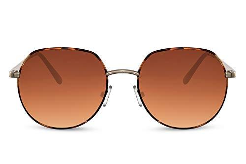 Cheapass Gafas de sol Sunglasses, pequeñas, redondas, doradas y de Metálicas de leopardo, con parte superior plana y lentes degradados marrones con protección UV400 para hombres y mujeres