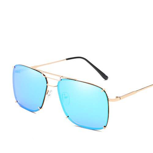 Gafas De Sol Uv400 Gafas De Sol para Hombres, Mujeres, Piloto Óptico, Espejo, Vintage, Retro, Extragrande, Marco Cuadrado, Metal, Damas, Gafas, Gafas, Azul, Gafas2