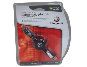 Retractable Ethernet, phone and usb cable