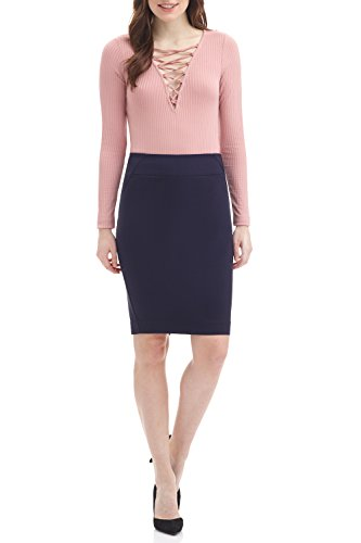 Rekucci Women's Ease into Comfort Fit Perfect Midi Pencil Skirt (Medium,Navy)
