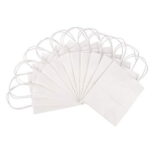 ewtshop® 24 Geschenktüten mit Henkel, Geschenktaschen aus weißem Kraftpapier, 18 x 21 x 8 cm