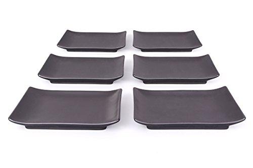 Keramik Sushi Teller / Essteller / Menüteller / Speiseteller / Teller Set 6-teilig 21,5cm schwarz/matt, Original Aricola®
