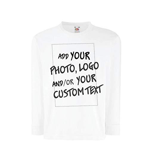 lepni.me Camiseta para Niño/Niña Regalo Personalizado, Agregar Logotipo de la Compañía, Diseño Propio o Foto (14-15 Years Blanco Multicolor)
