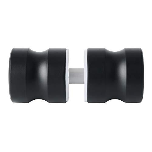Sayayo Mampara de ducha maciza Perilla de puerta de puerta trasera con manija redonda, acero inoxidable negro, EL5000-B