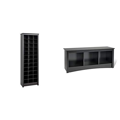 Prepac Shoe Storage Cabinet, 36 Pair Rack, Black & Sonoma 3-Cubbie Bench, Black