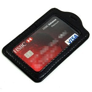 Cosmos ® Black 20 Pcs Faux Leather Business ID Badge Card Holder - Vertical (Top Loading) with Slot & Chain Holes with Cosmos Fastening Strap Photo #4