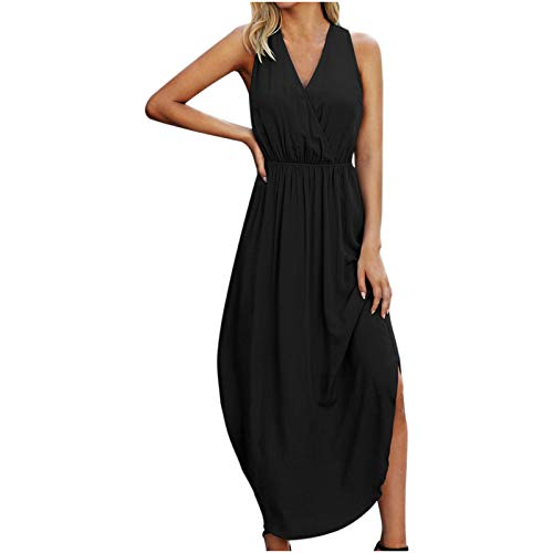 Women Dresses Promotion Sale Clearance Ladies's Fashion Solid Dress V-Neck Sleeveless Solid Ankle-Length Dress Party Eleagant Dress UK Size S-3XL Black