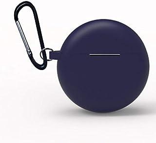 حافظة حماية واقية من السيليكون لسماعات بلوتوث هواوي فريبودز 3 اللاسلكية، صندوق تخزين بخطاف - باللون الازرق الداكن