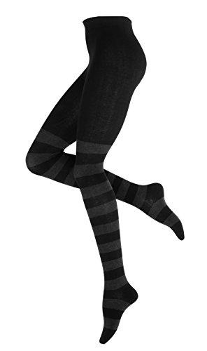 Vincent Creation Warme und Modische Damen Baumwoll Strumpfhose mit Blockstreifen, Strickstrumpfhose gemustert