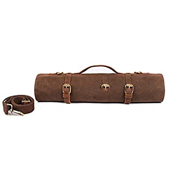Large Chef's Knife Roll Bag Heavy Duty Waxed Canvas Knife Carrier 11 Pockets Kitchen Cooking Tools Storage Case Easily Carried By Shoulder Strap ForProfessional Chefs Culinary School Students