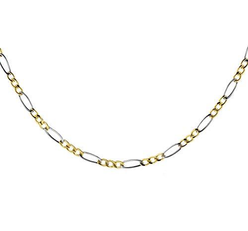 14 Karat 585 Gold Italienisch Flach Figaro Gelbgold Weißgold Bicolor Unisex Kette - Breite 3 mm (45)