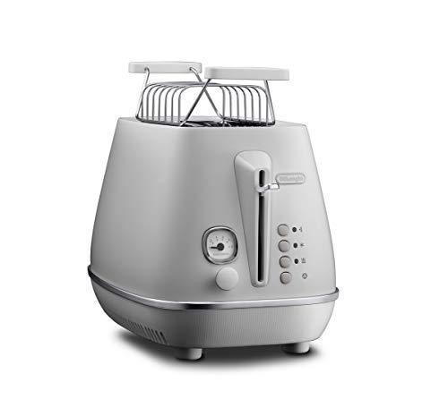 De'Longhi Toaster Distinta Moments CTIN2103.W - 2-Schlitz-Toaster mit Brötchenaufsatz, edelstahl in Matt-Metallic Finish mit Chrom-Details, passend zu Nespresso Gran Lattissima (EN650.W), weiß