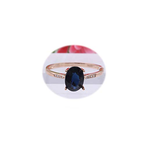 Daesar Anillos Mujer Oro Blanco 18K Plata Azul/Oro Rosa Azul Oval Zafiro Azul Talla 6,75-25