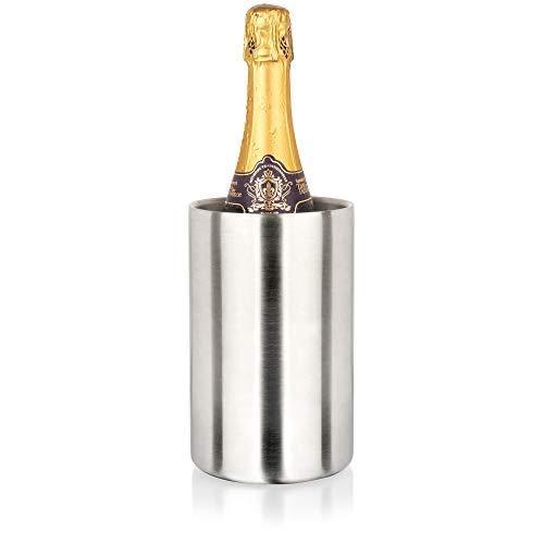 Pixestie Weinkühler, Champagner- und Proseccoeimer, 19,1 x 10,9 cm, eisfreier Wein- und Champagnerkühler, umweltfreundlich, isolierter Edelstahl-Weinflaschenhalter, Weinzubehör, Weingeschenk