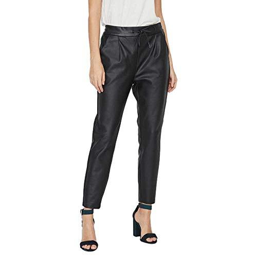 Vero Moda Vmeva Mr Loose String Coated Pant Pantaloni, Nero (Black Black), 40 /L30 (Taglia Produttore: Large) Donna