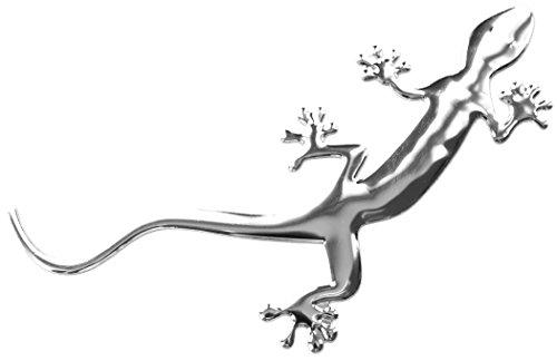 PRESKIN – 3D Gecko Argent Autocollants Brillant Chrome Autocollant en Optique métal pour Voiture,vélo, frigo, Moto, Scooter, Ordinateur Portable, Porte, réfrigérateur