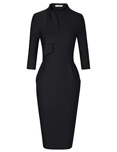 MUXXN Womens Asymmetrical Neckline High Stretch Pencil Casual Vintage Plus Dress (Black XXL)
