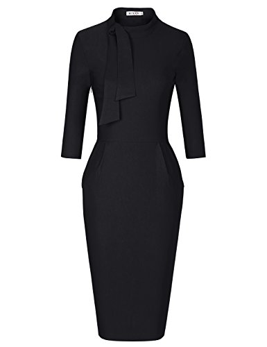 MUXXN Lady Cute Half Sleeve Tunic Sheath Stretchy Formal Office Work Pencil Dress (Black XL)