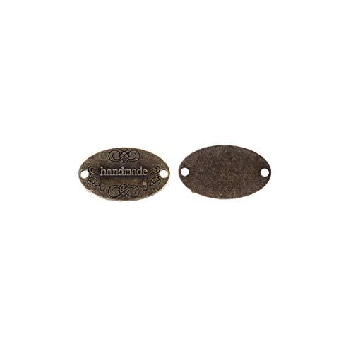 Healifty 60Pcs Etiqueta de Metal Etiqueta Hecha a Mano Etiqueta 2 Botones de Adorno de Punto Accesorios de Bricolaje para Jeans Bolsos Zapatos Sombrero Bronce