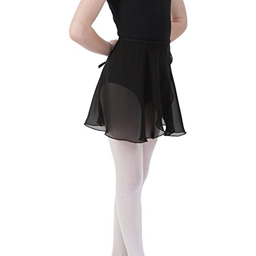 Sportingbodybuilding Ballet Wrap Skirt Chiffon Dance Skirt for Women & Girls(Black/Large), L(Height 5.3-6.2ft, Waist 36.7in)