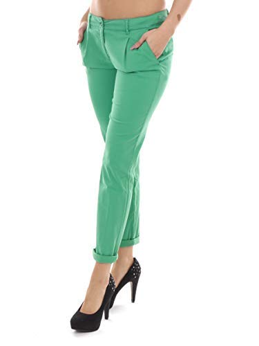 Unbekannt Pureday Pantaloni di Tessuto Chino Verde Borse Pulsanti - Verde, 38