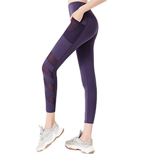 Yoga-Hosen Mit Taschen, Schnell Trocknend Dünnen Stretch-Elastische Persönlichkeit Netz Leggings Naht,C,M