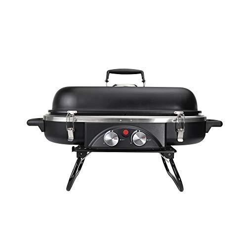Mayer Barbecue ZUNDA Tisch-Gasgrill MGG-202 Pro Tischgrill, 2 Brenner, Gusseisen-Roste, Dual-Fuel-System, Klappbare Standbeine