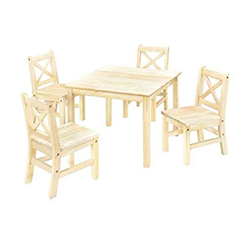 eHemco Kids Table and Chairs Set Solid Hard Wood with 4Pcs X Back Chairs(Unfinished)