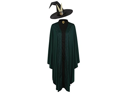 Offiziell lizenzierte Harry Potter Professor Minerva McGonagall Kostümwoche Kostüm für Lehrer, Erwachsene, Einheitsgröße, mit gefiederten Hut