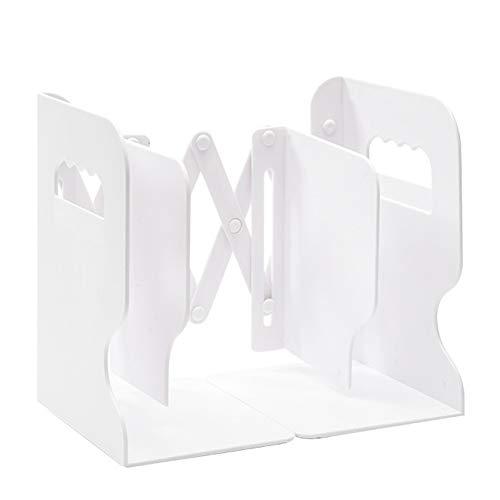 Elibeauty Metall-Buchstützen verstellbar ausziehbar Buchstützen Schreibtisch Aufbewahrungsbox Organizer Zeitschriftenhalter Schreibtisch ordentlich Bücherregal erweiterbarer Aktenhalter (weiß)