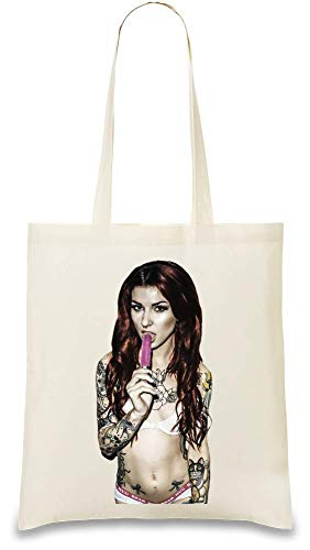 Tattoo eingefärbt Sexy Hot Girl lecken Eis - Tattoo Inked Sexy Hot Girl Licking Ice Cream Custom Printed Tote Bag| 100% Soft Cotton| Natural Color & Eco-Friendly| Unique, Re-Usable & Stylish Handbag
