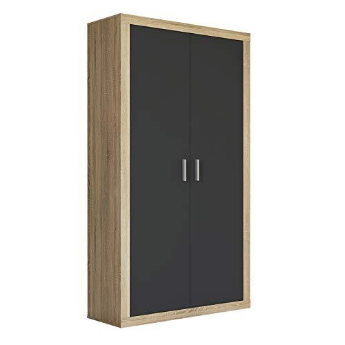 Armario Dos Puertas Dormitorio habitación, Acabado en Color Grafito y Cambria, Modelo Lara, Medidas: 105 cm (Largo) x 208 cm (Alto) x 50 cm (Fondo)