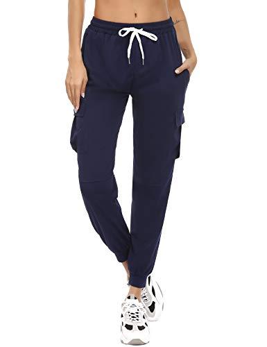 Akalnny Pantalones Chandal Mujer Algodón con Bolsillos Pantalón Deportivo Mujer Largos Patalones...