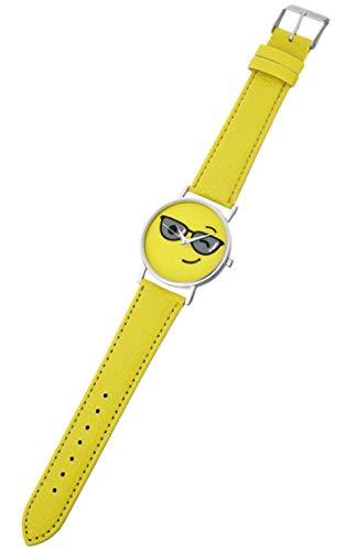 Eichmüller Leder Kinderuhr Gelb Sonnenbrille Emoji 3ATM Quartz Uhrwerk
