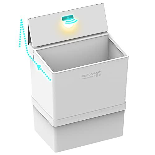 MINGJ Pattumiera Ad Apertura Automatica 12 Litri Cestino Spazzatura Intelligente Coperchio Pieghevole Aperto con Luci a LED E Contenitore per...