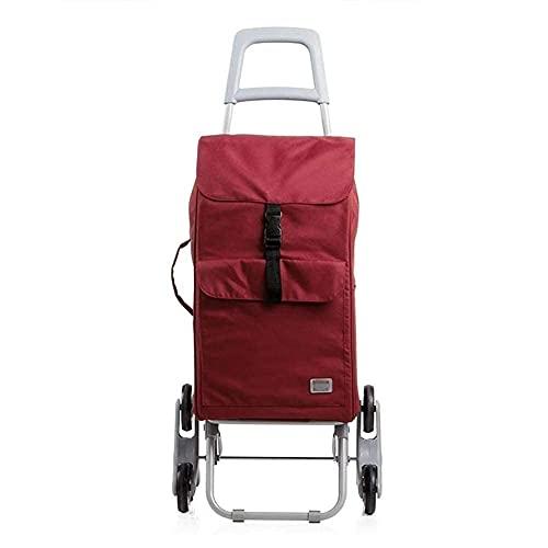 LINQ Carro de la Compra con Ruedas, 30L Trolley de Compras Ligero Plegado de 6 Ruedas Comprador de Gran Capacidad, Vino Tinto