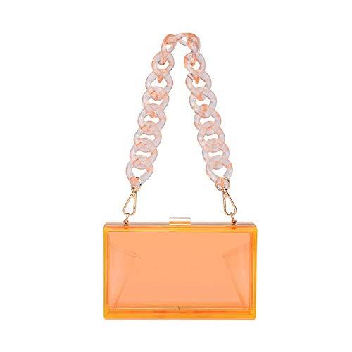 Bolso de acrílico de las mujeres de la caja de noche de la cadena del bolso para las señoras pequeño bolso crossbody para el bolso - naranja - S