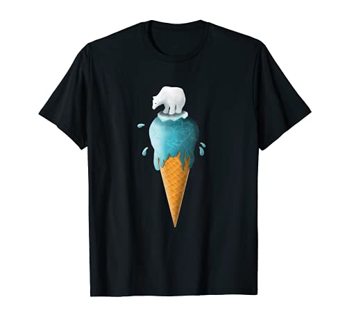 Camiseta de oso polar en helado de fusión salvar el planeta Camiseta