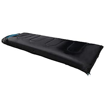 Sac de couchage sarcophage 3 saisons ultra léger pour camping et été - Température de confort extérieure de 1 °C à 20 °C - Unisexe - 210 x 75 cm (noir/bleu)