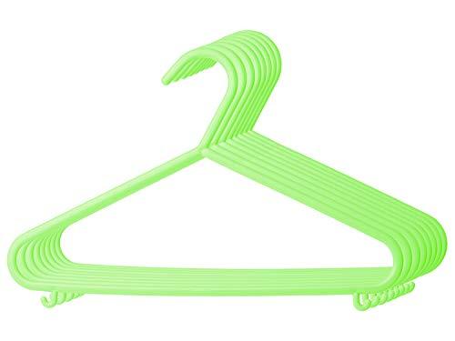 Bieco Kleiderbügel Kinder Baby Kinderkleiderbügel Babykleiderbügel Kunststoff Hangers Hosensteg Aufbewahrung für Kleiderschrank Schrank Länge 29,5cm, 8 Stück, grün, schmal, Artn 04014144