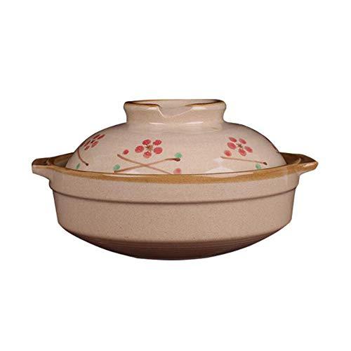Zidao Tontopf, Japanischer Kirschblütenkeramik Auflauf Haushaltsgasauflauf Handgemalte Kleine 650 Ml Kreative Suppe Im Japanischen Stil Eintopf Eintopf Gedünsteter,Messing