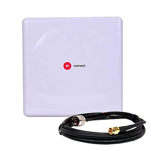 W WONECT Antena WiFi Panel 20dbi 20DB Conector N Regalo Pigtail SMA 10 Metros