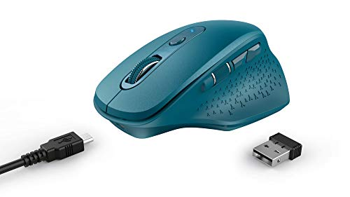 Trust OZAA Ratón Inalámbrico Recargable, 6 Botones, Ergonomico, Receptor USB Plug and Play, Interruptor de Encendido/Apagado, Wireless Mouse para Ordenador Portatil, PC, Macbook, Chromebook - Azul