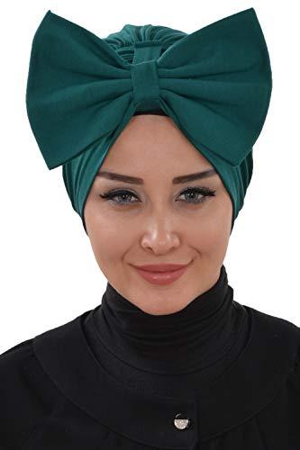 Instant Turban for Women Cotton Head Wrap Lightweight Head Scarf, D Green