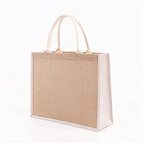 HYMD Bolsas de la Compra Manija de algodón Suave, Bolsas de Compra de Mujeres, Bolsa de Regalo de Dama de Honor (Color : White, Size : 39x31x15 cm)