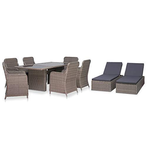 Ksodgun Set de Comedor de jardín 9 Piezas Set Muebles de Jardin Outdoor Juego Comedor ratán sintético marrón