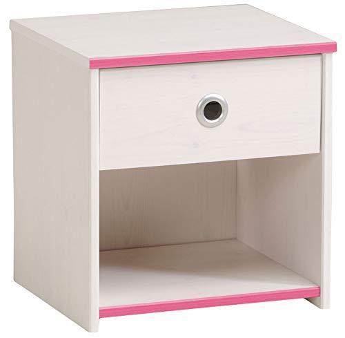Nachtkommode Smoozy weiß pink Mädchen Nachttisch Nachtkonsole Nachtkästchen Nako Abladetisch Kinder Jugendzimmer Nachtschrank