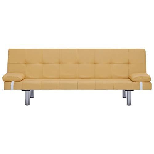 Lechnical Sofá Cama Amarillo Revestido de poliéster, sofá Cama Familiar Estilo Moderno 168 x 77 x 66 cm (Largo x Ancho x Alto) -3 ángulos Ajustables Trae 2 Almohadas