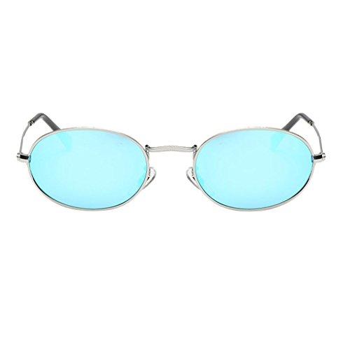 Oshhni Marco Mujeres Hombres Espejo Gafas de Sol Tantas Sombras de Ojos Gafas - Marco astillay Azul Lente
