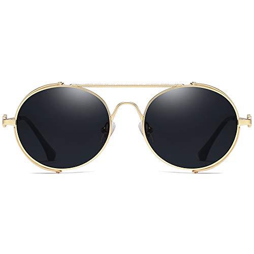 ZHHk Gafas De Sol con Marco De Personalidad, Moda Casual, Material De Metal Nuevo, Lentes De Marco Negro/Dorado, Hombres Y Mujeres con Las Mismas Gafas De Sol. Gafas de Sol (Color : Gold)